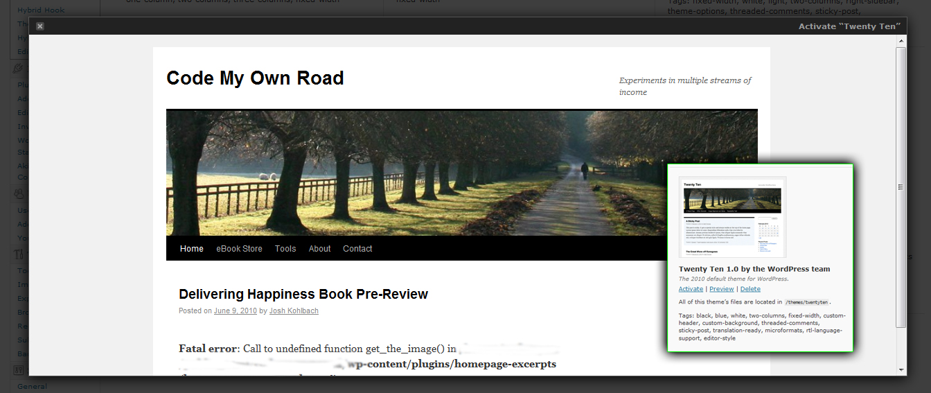 Twenty Ten New WordPress 3.0 Default Theme