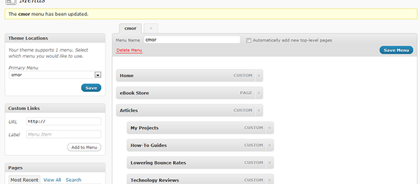 My Menu in WordPress 3.0 with sub menus