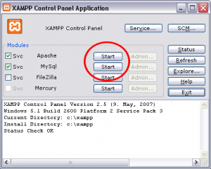 Start Apache and MySQL in XAMPP
