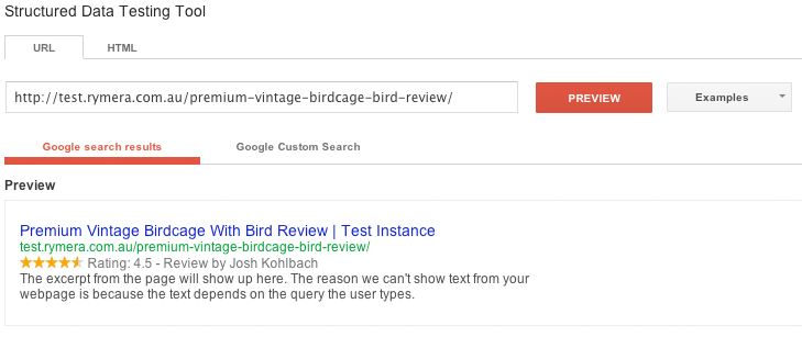 Google Rich Snippet Testing Tool