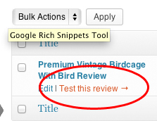 Link straight to rich snippet testing tool